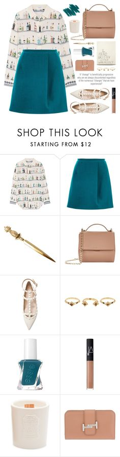 """boozy bar shelf shirt"" by jesuisunlapin ❤ liked on Polyvore featuring MANGO, Equipment, Carven, Givenchy, Valentino, House of Harlow 1960, Essie, NARS Cosmetics, Brunello Cucinelli and Tod's"