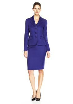 LE SUIT 3-Button Jacquard Notch Collar Skirt Suit @ideeli