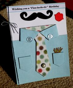 Birthday Masculine Handmade Moustache Multi Paper Stacking 3D Greeting Card on Etsy, $4.75