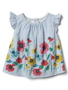 Floral boarder striped flower top