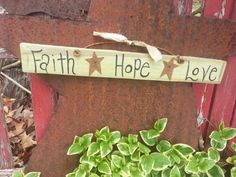 Faith Hope Love Sign with Rusty Stars by thecountryshed on Etsy, $11.49