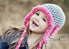 SALE  Children Hats Earflap Beanie with Pink Hearts and Pink fuzzy Trim  / Grey and Pink / Great Photo Prop by imomzi. $22.00, via Etsy.