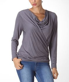 Look at this Charcoal Drape Top on #zulily today!