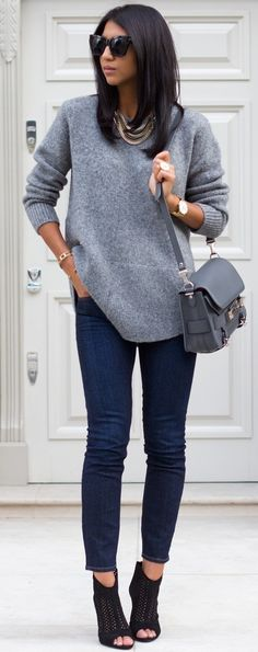 #fall #trending #outfits | Grey Sweater + Denim