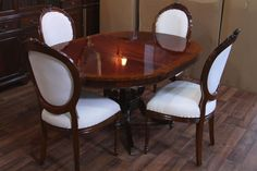 Brilliant 44quot Round Dining Room Table Amp 1 Leaf Lyre Pedestal And Round Dining Room Tables