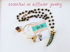 Beautiful essential oil diffuser bangles and necklace. Rubbing doTerra, YoungLiving, or Ameo essential oils on the lava holds and diffuses the essential oils.