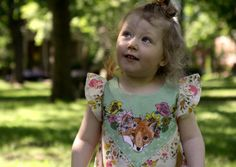 floral fox print baby toddler dress by supayana on Etsy