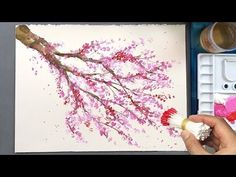 Cherry Blossom Tree Q Tip Painting Technique Cotton Swabs Painting Tutorials Online Painting Tutorials are available at : PAT. this technique would be cool to also do with a heart piece of paper, and then Q Tip Painting, Acrylic Painting Techniques, Paint Techniques, Painting Tutorials, Acrylic Painting For Kids, China Painting, Drawing Tutorials, Painting & Drawing, Blossom Trees