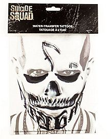 Diablo's signature face tattoos are a must for any Suicide Squad ensemble. These water transfer tattoos will have you looking just as dark and dangerous as the fiery felon himself.