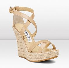 Jimmy Choo Porto Espadrille Wedges Worn once, looks in excellent condition. Gorgeous woven pattern with nude patent leather straps. Leather Espadrilles, Jimmy Choo Shoes, Wedge Sandals, Espadrille Wedge, Luxury Shoes, Shoe Collection, Shoes Online, Patent Leather, Porto