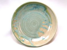Hand Crafted Stoneware Green and Cream Plates