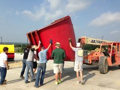Moving slide pieces around and getting ready to build slides at Splash Kingdom waterpark wild west in Hudson oaks, TX