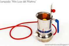 """Mini luce del mattino"" lamp, made with a 70's  moka. #lamp #vintage #redesign #coffee #lights #handicraft #recycle #reuse #artigianato #lampade #lights #luci"
