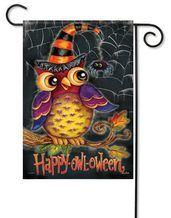 "Happy Owl-Oween Halloween Garden Flag - 13"" x 18"" - 2 Sided Message"