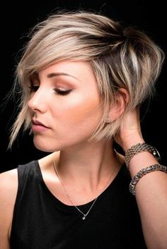 Longer Short pixie hair cut / hairstyle / black and blonde / shaved