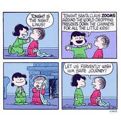 Tonight is the night! ~ Christmas Eve ~ Linus and Lucy Van Pelt Snoopy Comics, Snoopy Cartoon, Peanuts Cartoon, Peanuts Gang, Peanuts Comics, Christmas Comics, Peanuts Christmas, Charlie Brown Christmas, Charlie Brown And Snoopy