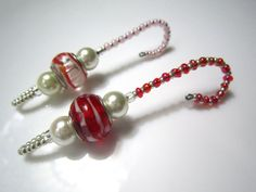 Beaded Ornament Hangers - 2 Glass and Silver European Style Bead and Pearl fully  Beaded Ornament Hooks - Red, White and Pink