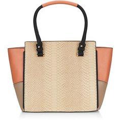 Coral Colour Block Snakeskin Print Panel Tote Bag Modèles De Sac, Sac À  Main, 37da60477bd