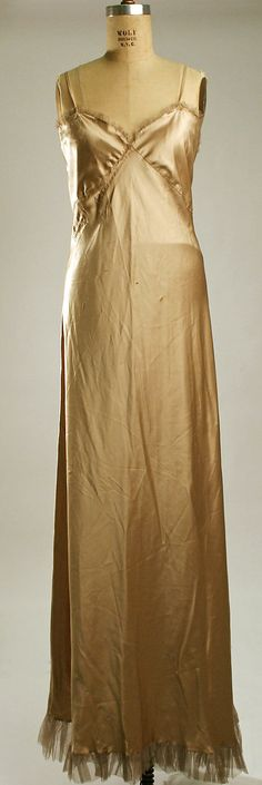 Evening slip Christophe Date: 1930s Culture: French Medium: silk Dimensions: Length (from shoulder): 62 in. (157.5 cm) Credit Line: Gift of Mrs. C. O. Kalman, 1979 Accession Number: 1979.569.31