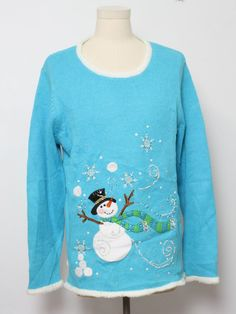80s style -Quacker Factory- Unisex bright blue background cotton ramie blend pullover longsleeve Ugly Christmas Sweater, scoop neckline feat...