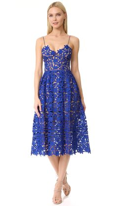 Cobalt Blue Lace Midi Dress | Azalea Dress by Self Portrait