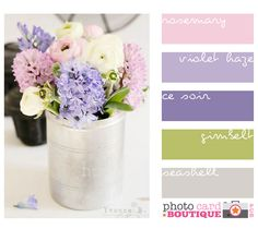pink, violet, green and seashell