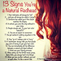 When you see another redhead you nod; its like a secret club. Funny but true