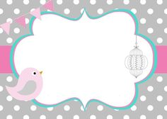 On this special day I wish you a happy day together with your new family that we love you very much and hope that this will continue for much longer. Tarjetas Baby Shower Niña, Baby Shower Cards, Baby Shower Invitations, Baby Frame, Bird Party, Baby Shawer, Bird Theme, Class Decoration, Binder Covers