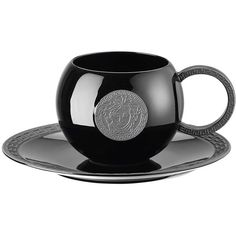 Versace Home La Medusa Teacup & Saucer ($235) ❤ liked on Polyvore featuring home, kitchen & dining, drinkware, black, drinks, filler, food and versace