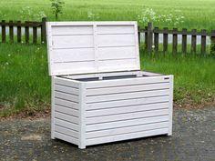 Auflagenbox / Kissenbox Holz, Transparent Geölt Weiß