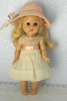 1950's Vintage Vogue Ginny Doll Walker  Blond 2 Tagged Outfits Hat White Dress #DollswithClothingAccessories