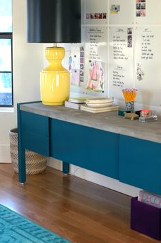 DIY Concrete-Topped Office Credenza