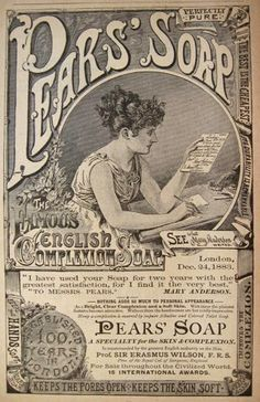 1885 Pear's Soap Ad, featuring stage actress Mary Anderson.