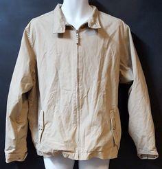 Lands End Jacket Size Large 42-44 Beige Khaki Zipper Pockets Lined #LandsEnd #Windbreaker