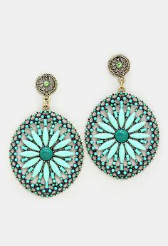 Amria Statement Earrings in Mint