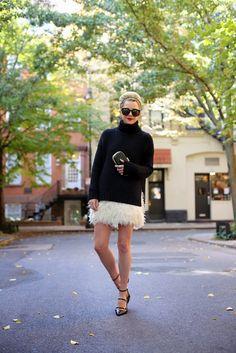 Atlantic-Pacific 10.27.2013 party time Sweater: ALC via Neiman Marcus. Skirt: Kate Spade (also love this feather dress). Shoes: Zara. Minaudiere: Anya Hindmarch. Lips: Stila 'Beso'. Rings: David Yurman. Sunglasses: Karen Walker 'Super Duper'.