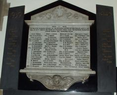 Memorial Tablet in St Mary's Church, Worsbrough Village