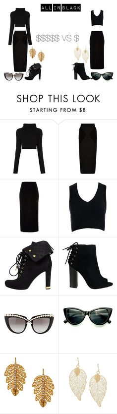 """""""Look 13 All in black"""" by cawdii on Polyvore featuring Valentino, Balenciaga, River Island, Sans Souci, Louis Vuitton, Anna-Karin Karlsson and Marika"""