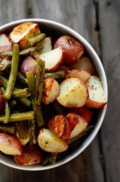 seasoned green beans and potatoes