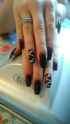 Surely the best idea of geometric nail art for long squoval nails
