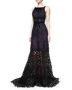 Sleeveless Double-Bow Gown W/Lace Hem, Navy by Oscar de la Renta at Bergdorf Goodman.