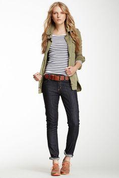 Skinny Leg Jean, stripes, oxfords, green jacket