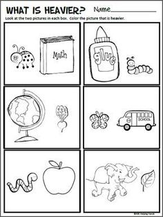 Free Compare Sizes Worksheet for Kindergarten Math Look at the two pictures in each box. Color the picture that is heavier. This worksheet is correlated Measurement Kindergarten, Measurement Worksheets, Kindergarten Math Worksheets, Science Worksheets, Kindergarten Science, Printable Worksheets, Toddler Worksheets, Preschool Math Activities, Shapes Worksheets