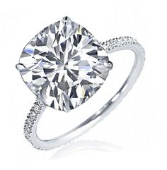 cushion cut solitaire diamond set   set in 14k white gold ring set with 22 round diamonds pave set 0 22 ct ...