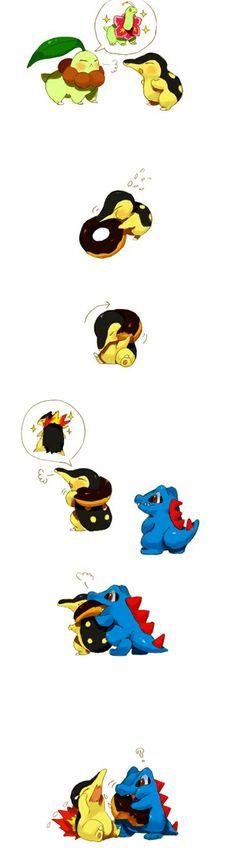 Pokemon - Chikorita, Cyndaquil, Totodile Cyndaquil .... dont cry