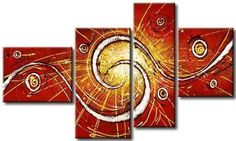 Red Abstract Painting, Abstract Wall Art, 4 Panel Modern Art, Large Artwork, Canvas Painting for Dining Room-homeartpainting Extra Large Wall Art, Hand Painting Art, Red Abstract Painting, Abstract Wall Art, Artwork, Abstract, Canvas Painting, Canvas Paintings For Sale, Large Canvas Painting