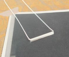 slim long silver bar necklace -- Etsy