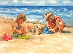 Castle building is hard work but so rewarding! These sweet little girls looks determined to create something magnificent at this Lake Michigan beach. Betsy's watercolor is soft yet colorful and captures the joy of summer. Lake Michigan Beaches, Baby Illustration, Fairy Garden Supplies, Art Articles, Beach Watercolor, Indian Art Paintings, Painting People, Beach Kids, Kids Artwork