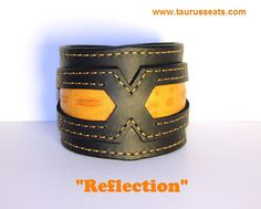 Black & Orange Leather Cuff Bracelet, Wristband with Orange Stitching, Motorcycle Accessory, Leather Bracelet for Men, Bikers Cuff, Embossed