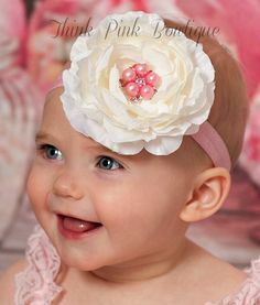 Baby Headbands, Baby headband, Girls Headband, Ivory Headband, Pink Headband, Flower Headband, Baby girl headband, Baby hair Bows, headbands